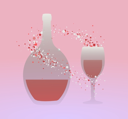 fizz: Illustration of a bottle glass and bubbles