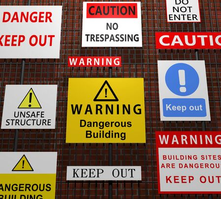 keep out: Illustration of many building related warning signs on a fence in front of a brick wall
