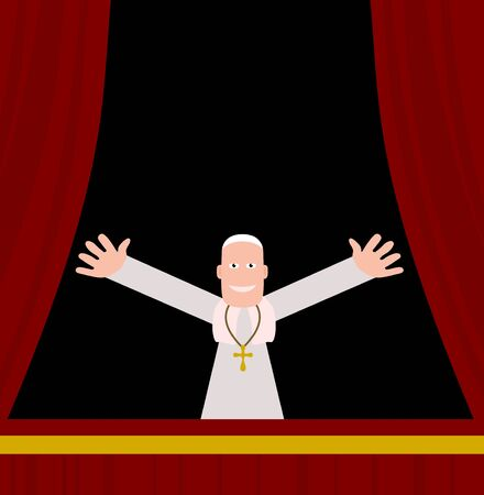 pope: Illustration of the pope greeting his people