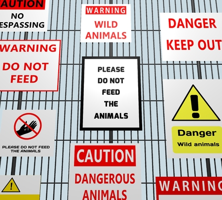 keep out: Illustration of many animal related warning signs on a metal fence Stock Photo