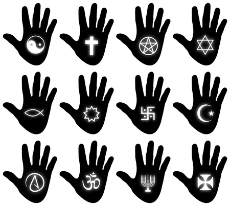 Illustration of twelve hands with religious related symbols illustration