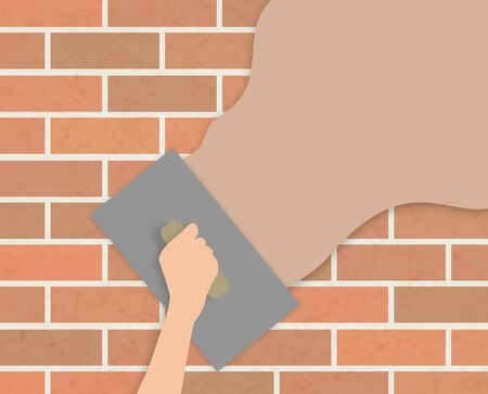 Illustration of a hand holding a trowel plastering over a wall illustration