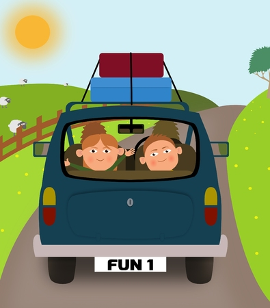 family trip: Illustration of a family going on holiday in a car