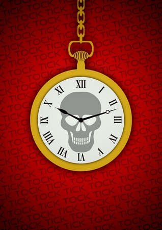 Illustration of a pocket watch with a skull on the face and the words tick tock in the background