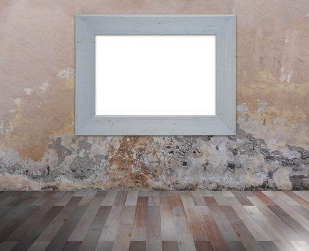 floorboards: Illustration of a white wooden fame on a grunge wall with wooden floorboards