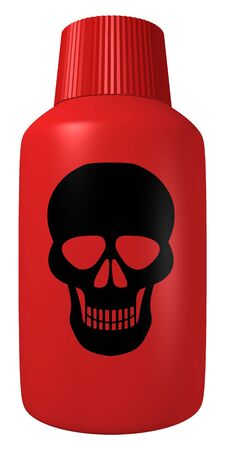 lethal: Illustration of a red poison bottle with a black skull on the front