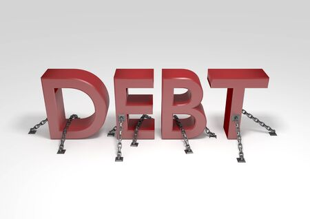 chained: Illustration of the word Debt chained to the ground Stock Photo