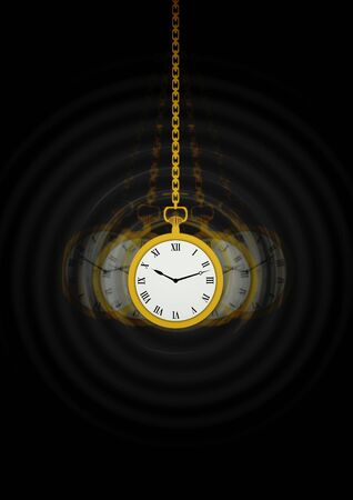 Illustration of a Hypnotists pocket watch with motion trails