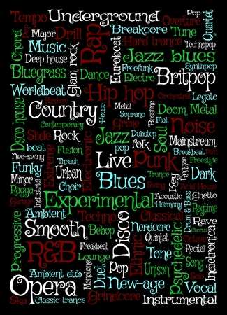 soul music: Illustration of music related words over a black background