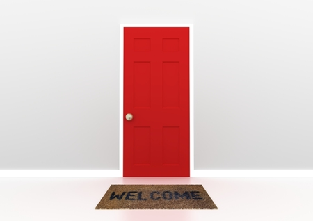 welcome door: Illustration of a red door with welcome mat Stock Photo