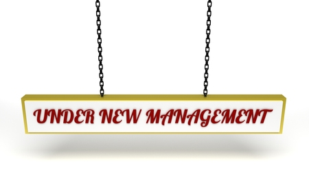 illustrated: Illustrated hanging sign with the text under new management Stock Photo