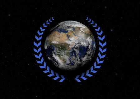 illustrated: Illustrated Earth with a blue Laurel wreath Stock Photo
