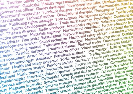 lots: Illustration of lots of text showing titles of professions with gradient effect