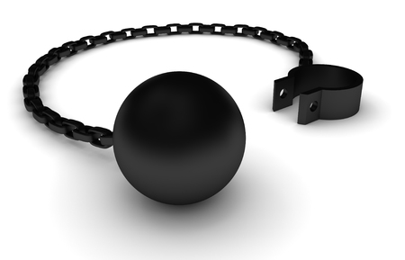 enslave: Illustration of an iron ball and chain