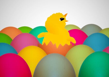 chirp: Illustration of an Easter chick surrounded by colorful eggs