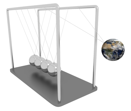 Illustration of Newtons Cradle with one of the spheres replaced with planet Earth Stock Photo