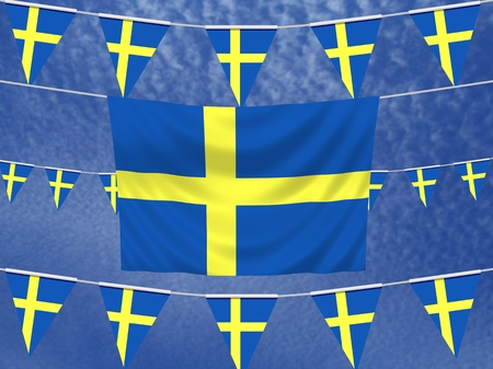 illustrated: Illustrated flag of Sweden with bunting and a sky background