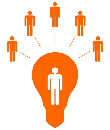 consolidate: Illustration of five people linked to another inside a light bulb