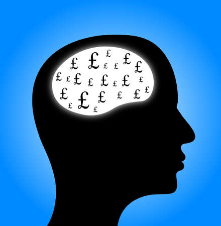 illustrated: Illustrated head with pound symbols inside the brain