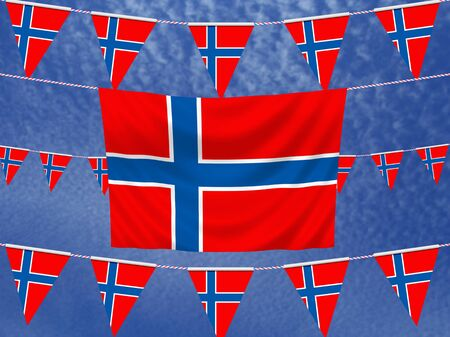 illustrated: Illustrated flag of Norway with bunting and a sky background