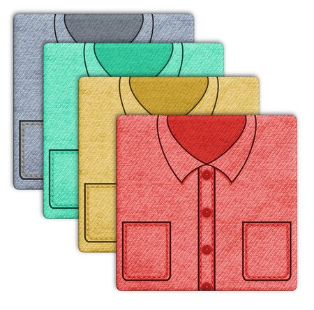 folded clothes: Illustration of four shirts in different colors