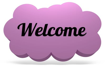 greet: Illustrated cloud with drop shadow and the word Welcome