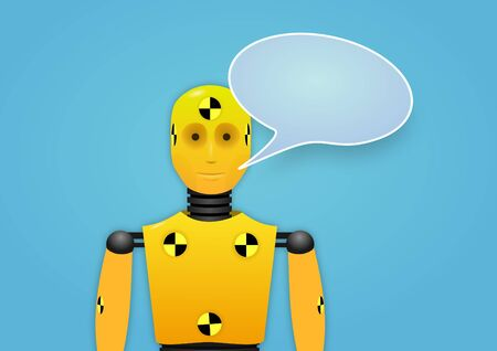 dummies: Illustration of a crash test dummy with speech bubble
