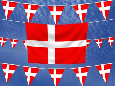 danish flag: Illustrated flag of Denmark with bunting and a sky background