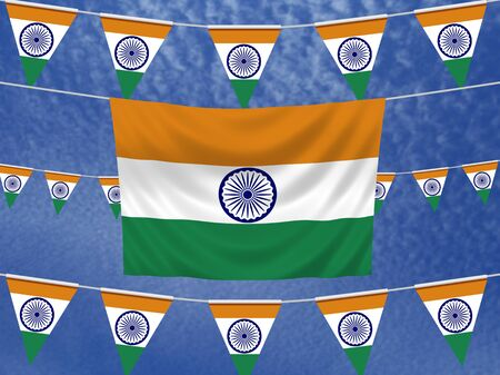 illustrated: Illustrated flag of India with bunting and a sky background Stock Photo
