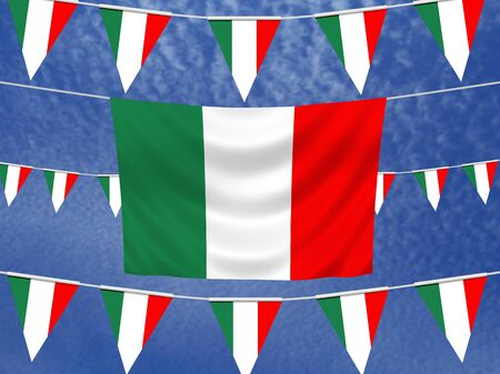 illustrated: Illustrated flag of Italy with bunting and a sky background Stock Photo