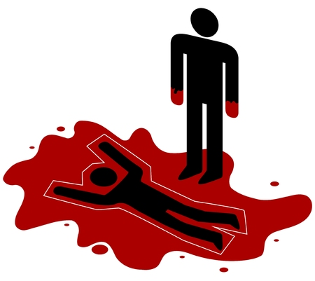 Illustration of a red handed person standing over a dead body