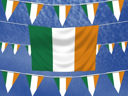 irish pride: Illustrated flag of Ireland with bunting and a sky background
