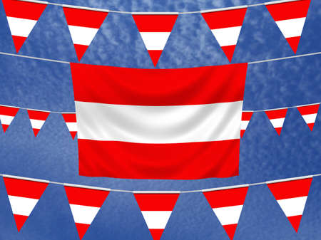 illustrated: Illustrated flag of Austria with bunting and a sky background Stock Photo