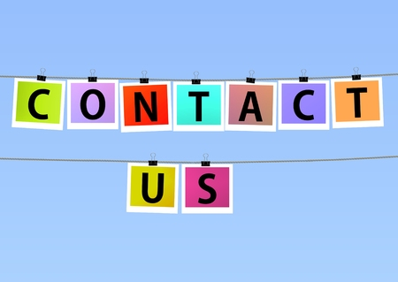 Illustration of colorful photos hanging on lines with the words \Contact us\ Stock Photo