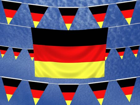illustrated: Illustrated flag of Germany with bunting and a sky background