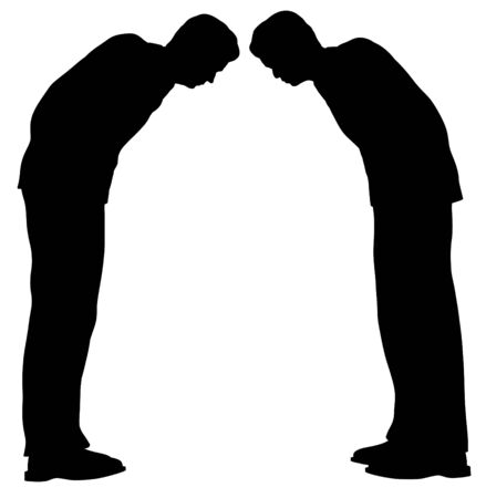 greets: Illustration of two business men greeting one another