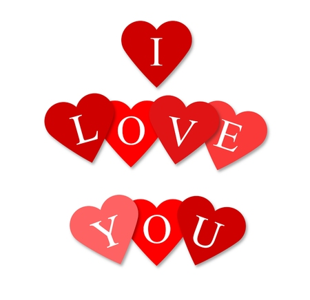 declaration of love: Illustration of love hearts with the message, I love you