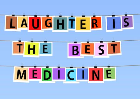 Illustration of colorful photos hanging on lines with the saying \Laughter is the best medicine\