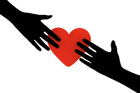hands out: Illustration of two hands reaching out towards a heart