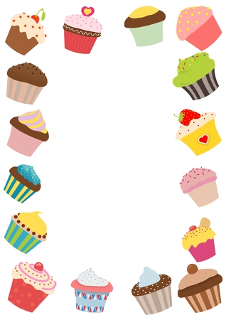 illustrated: A illustrated frame made of cupcakes