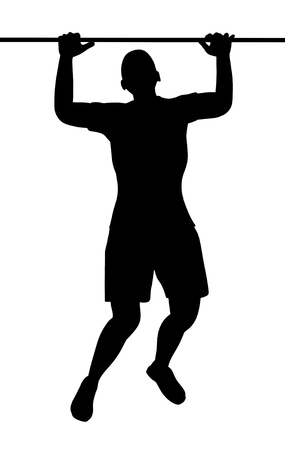 gripping bars: Illustration of a person doing pullups Stock Photo