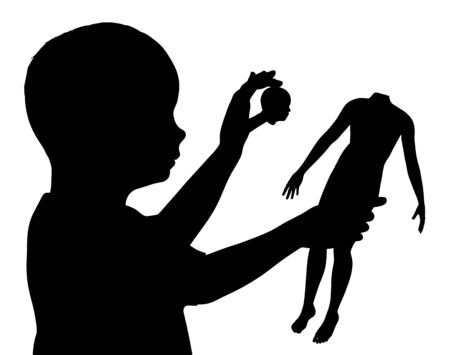 destroying: Illustration of a child pulling the head off a doll