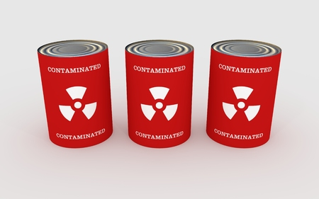 food storage: Illustration of three cans of food with the words \\\contaminated\\\ and toxic symbol Stock Photo