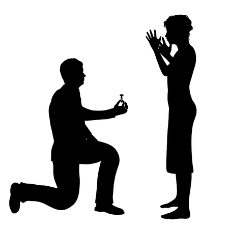 bending down: Illustration of a man bending down on one knee and proposing