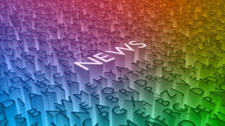 news current events: Illustration of many letters with the word \\\News\\\ highlighted in white Stock Photo