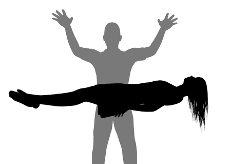 levitation: Illustration of a man and woman performing levitation Stock Photo