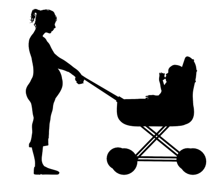 single parent: Illustration of a mother pushing her child in a pram