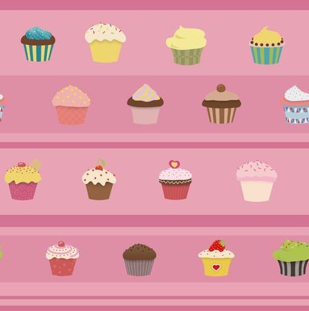 ピンクの stried の背景に多くのカップケーキのイラスト 写真素材 - 38174495