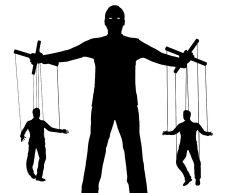 Illustration of a person controlling two puppets
