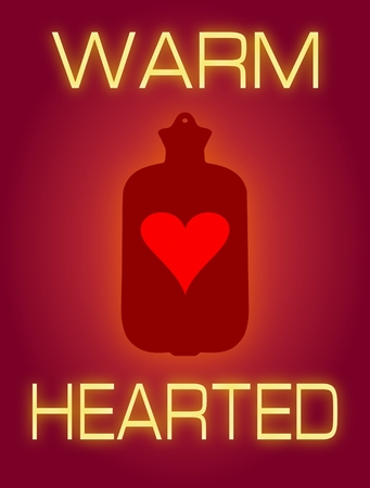 hot water bottle: Illustration of a heart shape inside a hot water bottle with the words Warm Hearted